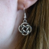 Handmade Silver Celtic Knot Dangle Drop Hook Earrings