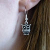 Handmade Silver Owl Dangle Drop Hook Earrings