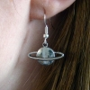 Handmade Silver Planet Dangle Drop Hook Earrings