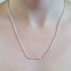 UPCYCLED Silver Chain Handmade Necklace with Pink Glass Bead Bar
