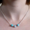 Silver Chain Handmade Pink and Blue Mottled Glass Bead Connector Necklace