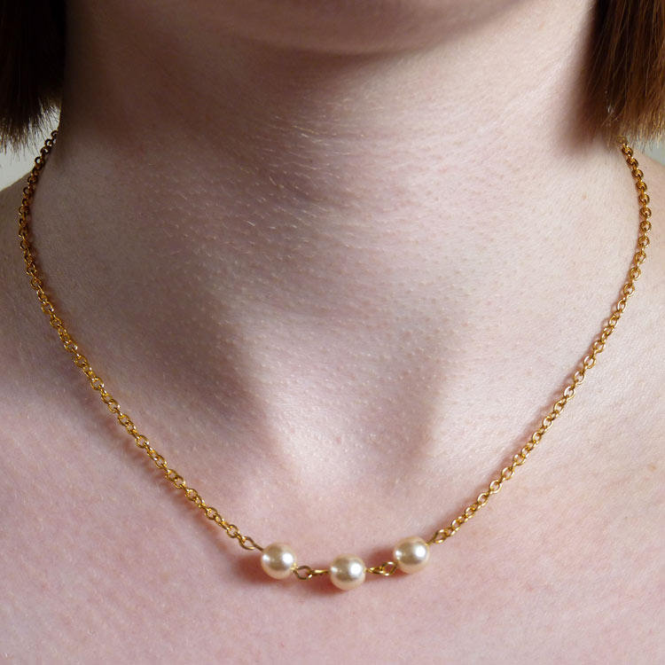 UPCYCLED Gold Chain Handmade Pearl Bead Connector Necklace | LJH ...