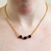 Gold Chain Handmade Black Glass Bead Connector Necklace