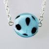 Handmade Silver Chain Glass Blue and Black Spotted Bead Necklace