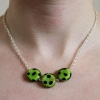 Handmade Silver Chain Glass Green and Black Spotted Bead Necklace