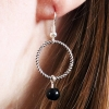 Silver Handmade Twisted Ring Dangle Drop Earrings with Black Glass Bead