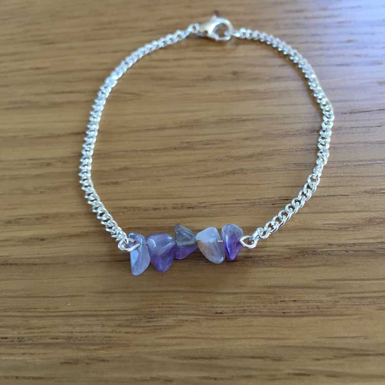 "Silver Chain Handmade 6.5"" Bracelet with Amethyst Agate Gemstone Chip Bar"