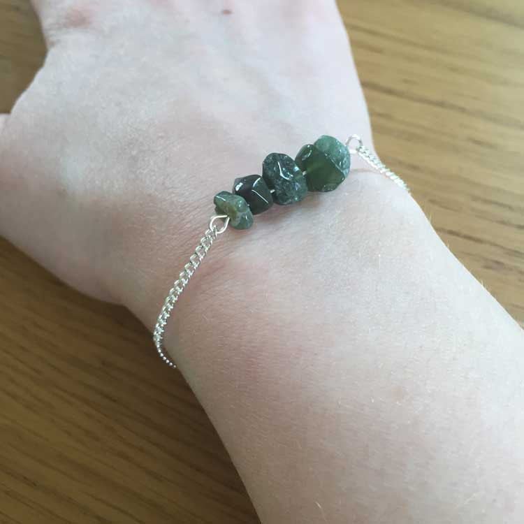 Silver Chain Handmade Bracelet with Green Indian Agate Gemstone Chip Bar