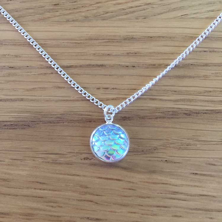 "Handmade Opal Mermaid Scale 14"" Chain Necklace"