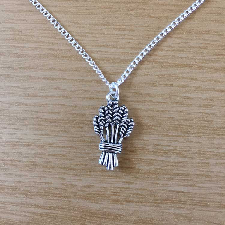 "Wheat Bundle Handmade Silver 16"" Chain Necklace"