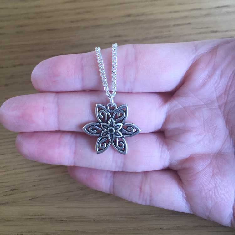 """Filigree Flower Handmade Silver Plated 18"""" Chain Necklace"""