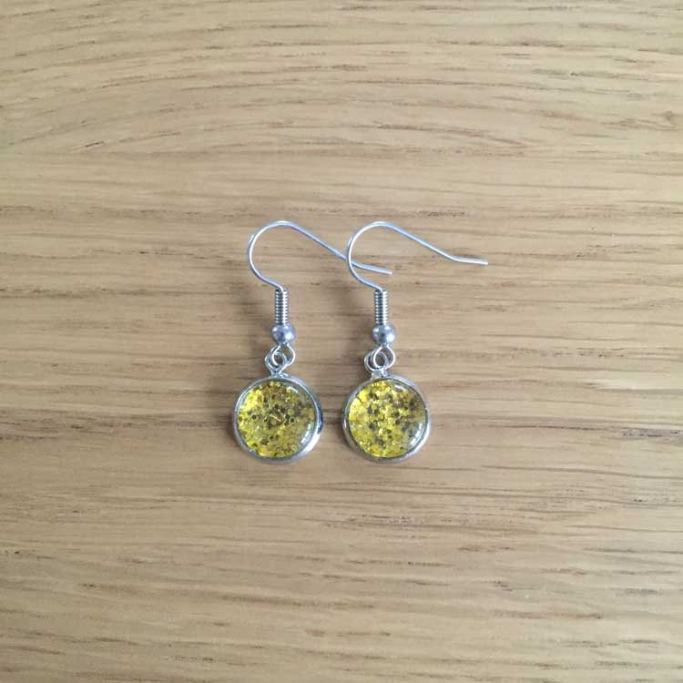 Handmade Bright Gold Glitter Glass Cabochon Surgical Steel Hook Earrings