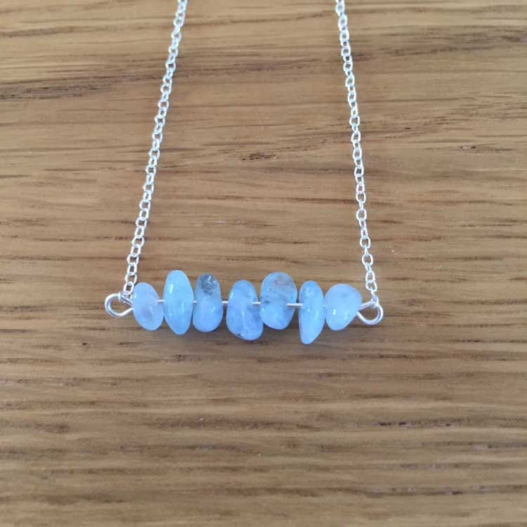 Sterling Silver Handmade Chain Necklace with Aquamarine Gemstone Chip Bar