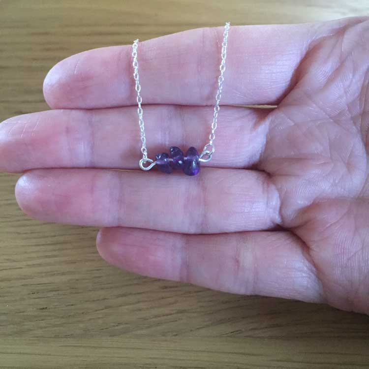 Sterling Silver Handmade Chain Necklace with Small Amethyst Gemstone Chip Bar