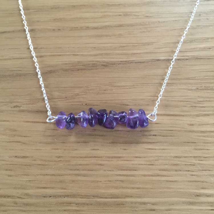 Sterling Silver Handmade Chain Necklace with Large Amethyst Gemstone Chip Bar