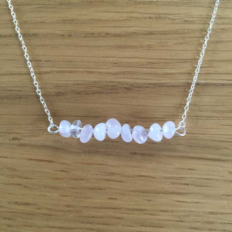 Sterling Silver Handmade Chain Necklace with Large Rose Quartz Gemstone Chip Bar