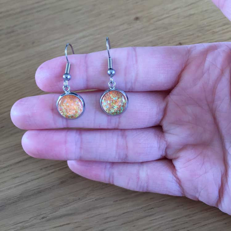 Handmade Orange Glitter Glass Cabochon Surgical Steel Hook Earrings