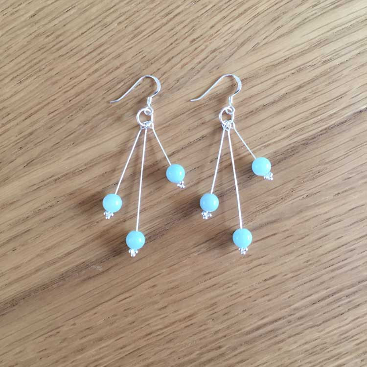 Sterling Silver Amazonite Bead Handmade Dangle Drop Earrings