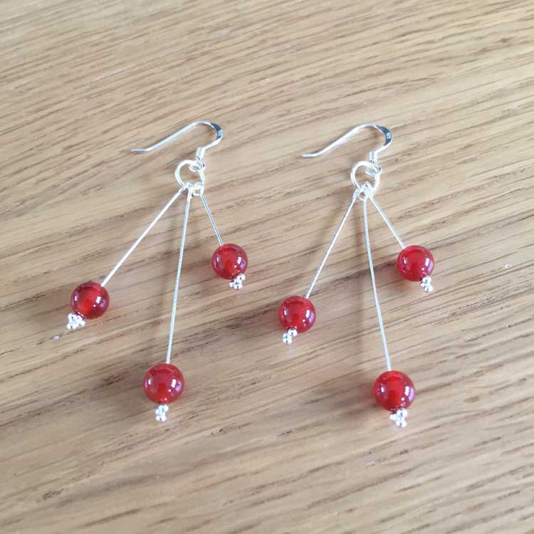 Sterling Silver Carnelian Bead Handmade Dangle Drop Earrings