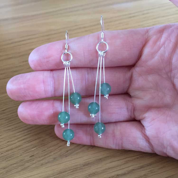 Sterling Silver Green Aventurine Bead Handmade Dangle Drop Earrings