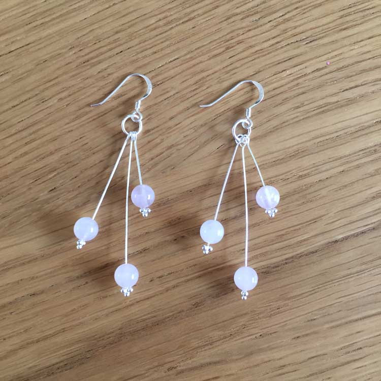 Sterling Silver Rose Quartz Bead Handmade Dangle Drop Earrings