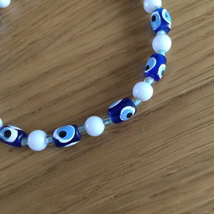 UPCYCLED Blue and White Beaded Bracelet