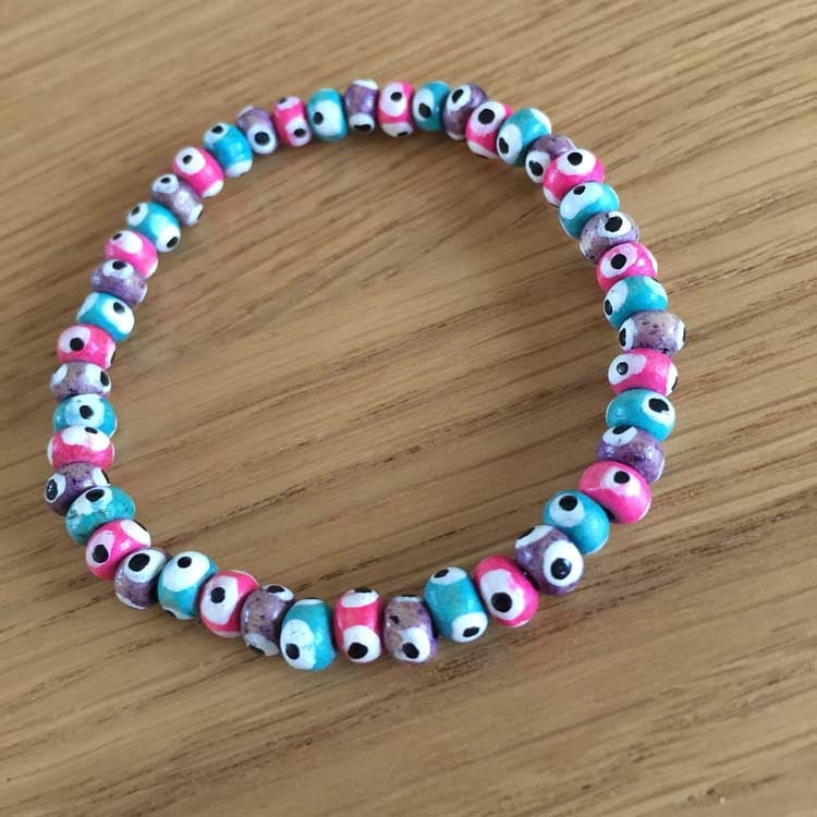 UPCYCLED Multi-Coloured Wooden Bead Bracelet