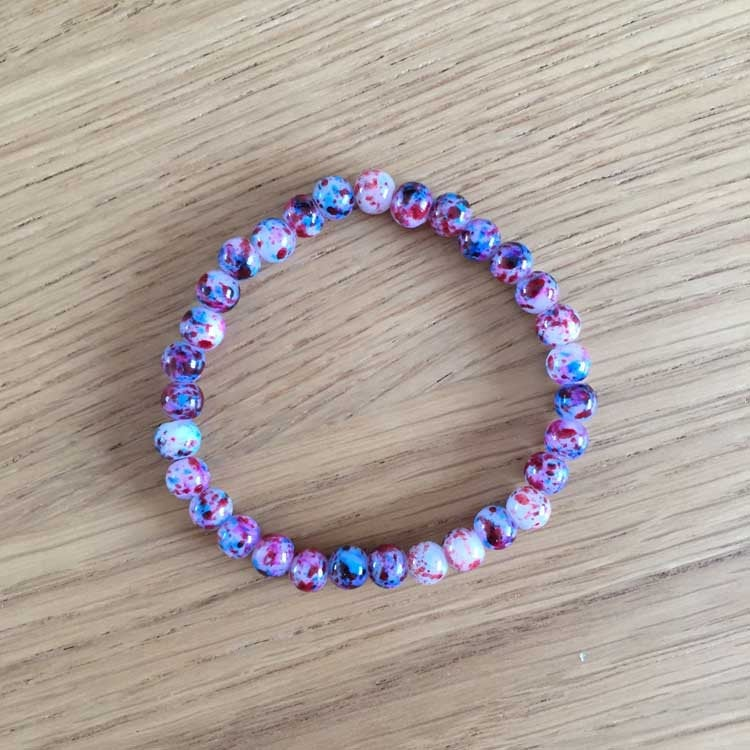 UPCYCLED Pink and Blue Speckled Beaded Bracelet