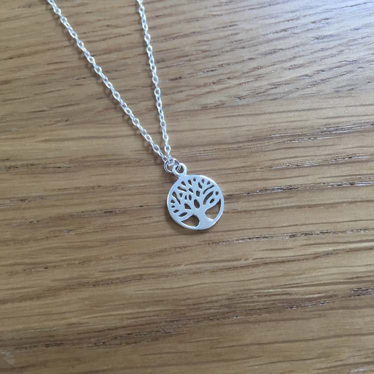 Sterling Silver Chain Necklace with Tree of Life Pendant