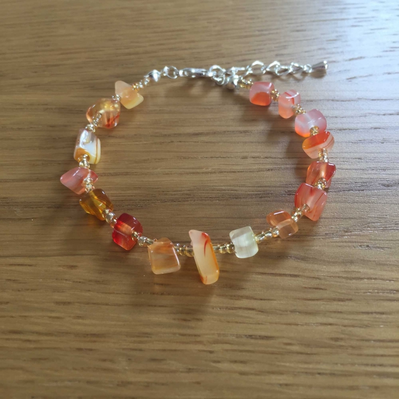 UPCYCLED Orange and Gold Bead Bracelet