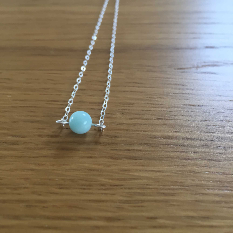 Sterling Silver Amazonite Gemstone Bead Necklace
