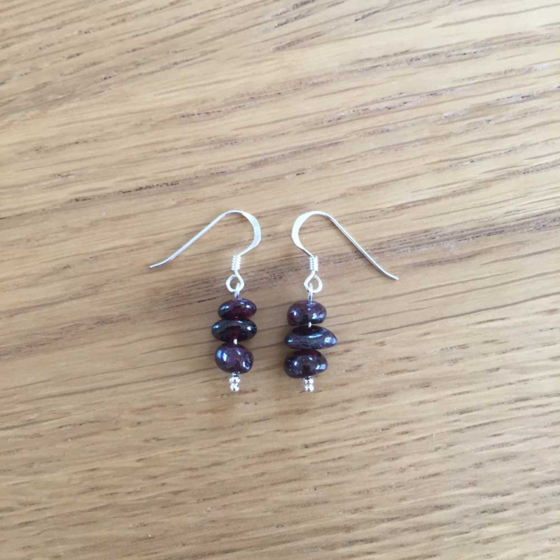 Sterling Silver Garnet Handmade Chip Bead Earrings